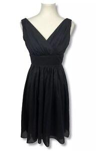 White-House-Black-Market-Women-039-s-Size-00-Black-Sleeveless-A-Line-Dress-Faux-Wrap