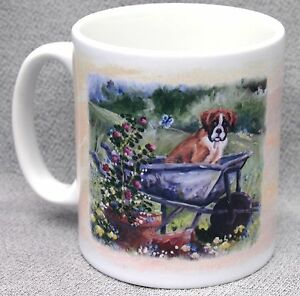 BOXER-DOG-MUG-OIL-PAINTING-PRINT-GARDEN-WHEELBARROW-SANDRA-COEN-ARTIST