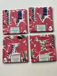 Lot-Of-4-Fat-Quarters-Dog-Novelty-Waverly-Cotton-Fabric-Pink-Great-For-Masks