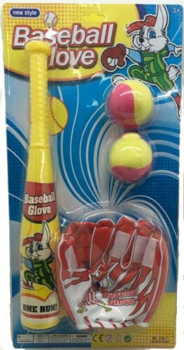 BASEBALL BAT WITH VELCRO GLOVE AND BALL PLAY SET KIDS OUTDOOR TOYS GIFT SPORTS