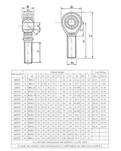 Stainless Steel SSA6-35T//K Right Rod End Joint Bearing Male Thread