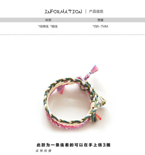 Handmade Kpop SKT T1 Bae Jun-sik bang Lucky Chain Wishes Weave Bracelet Cotton B