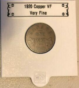 CANADA-1920-1-cent-GEORGE-V-Canadian-Penny-COPPER-Coin-VF-Very-Fine