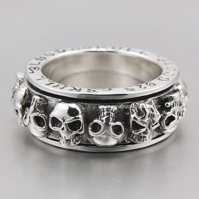 Solid 925 Sterling Silver Skull Stack Spinner Mens Ring 8D001