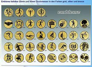 10 Alu-Embleme 50 mm in gold, silber oder bronzefarben