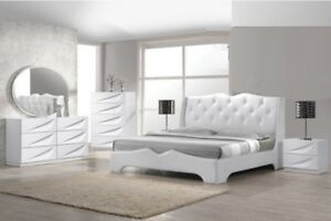 Details about 4pc Master Bedroom Furniture Queen Size Bed OffWhite Finish  Modern Design Set