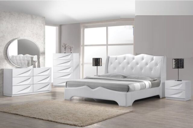 4pc Master Bedroom Furniture Queen Size Bed Offwhite Finish Modern Design Set For Sale Online
