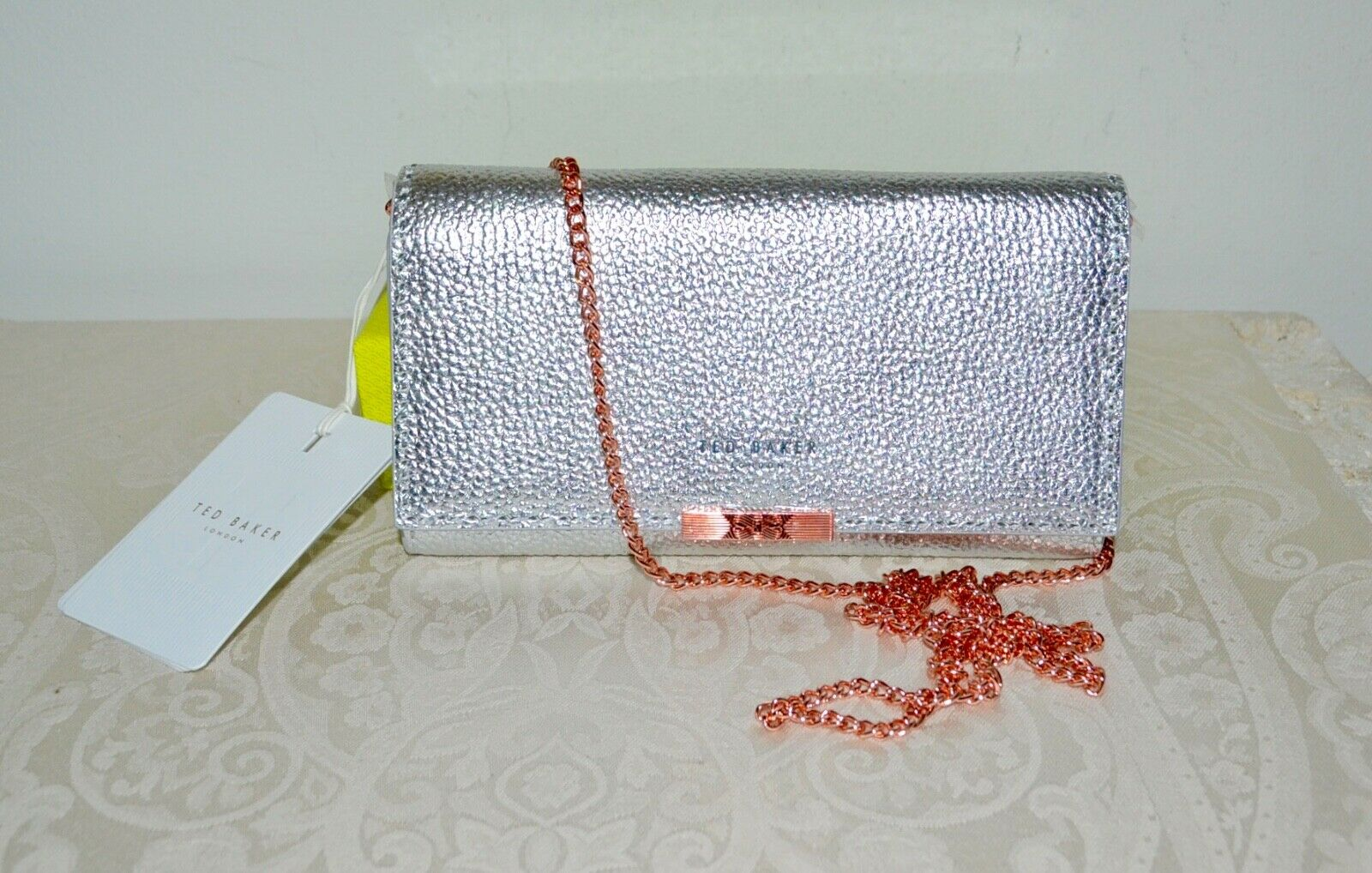 NWT TED BAKER Janet Leather Wallet on Chain SILVER Rose Gold