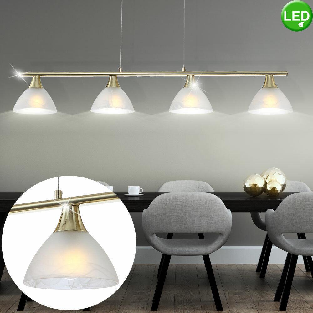 LED Messing Hänge Lampe Wohn Ess Zimmer Beleuchtung Glas Decken Pendel Leuchte