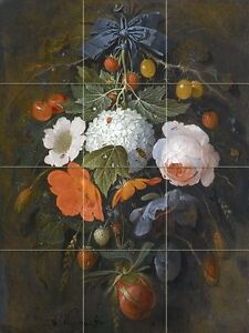 A-FESTOON-OF-FLOWERS-AND-FRUIT-Tile-Mural-Bathroom-Wall-Backsplash-Art-12-75x17