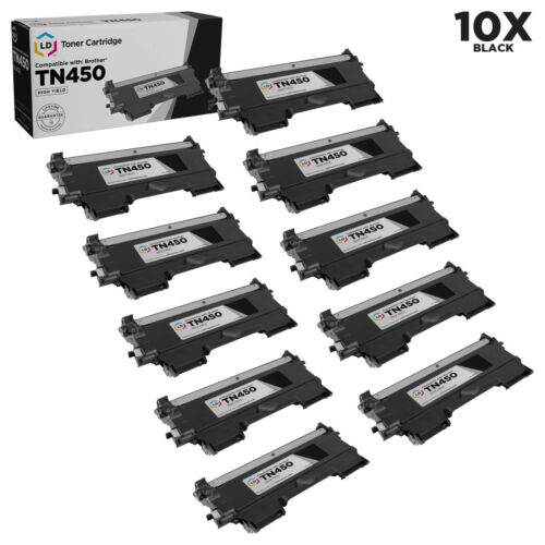 LD © 10p Comp Toner for Brother TN450 Black Cartridge DCP MFC Intellifax Printer