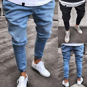 Mens-Slim-Skinny-Work-Joggers-Denim-Jeans-Casual-Long-Pants-Trouser-Pleated