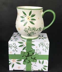 Temp-Tations Green Floral 16 oz Mug Cup Stoneware Ovenware w/ Gift Box by Tara