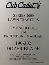 Cub Cadet 2000 Ser Lawn Tractor Dozer Blade Time Amp Procedure Manual 190 302 341