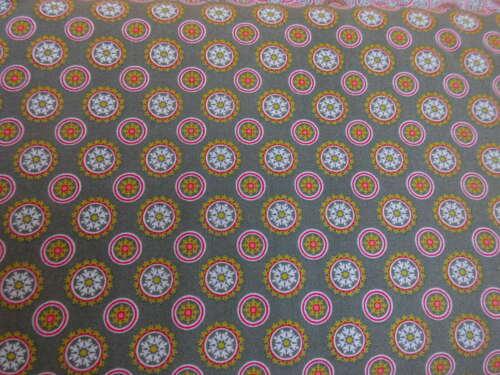 Tela de algodón popelín patchwork floral puntos METERWARE gris estampadas