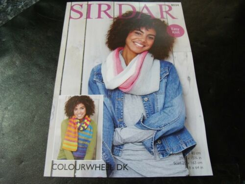 Sirdar Colourwheel Double Knitting Easy Knit Pattern number 8034 Snood and scarf