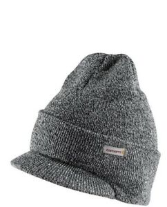ea2234b1fef Carhartt Winter Hat with Visor - Black and White Mens Knit Beanie ...