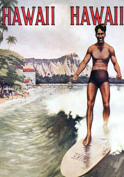 189956 HAWAII SURF SURFING DUKE KAHAMAMOKU WAIKIKI BEACHWall POSTER Print AU