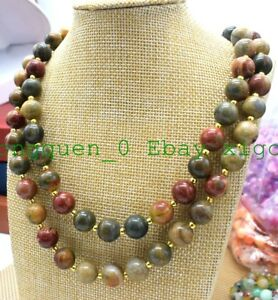 """8//10//12//14mm multicolore Picasso Jasper Gemstone Round Beads Necklace 18/"""" AAA"""