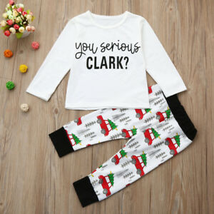 2PCS/Set Cute Toddler Kids Baby Boy Girl T shirt Tops Pants Christmas Set White