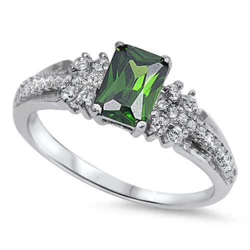 Rectangle Cut Emerald CZ Wedding Ring New .925 Sterling Silver Band Sizes 4-11