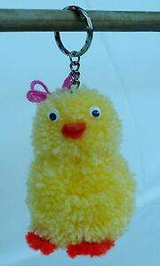 Easter Keyring Gift Miss Chick Pom Pom Fur Ball Handbag Racksack Charm Cute