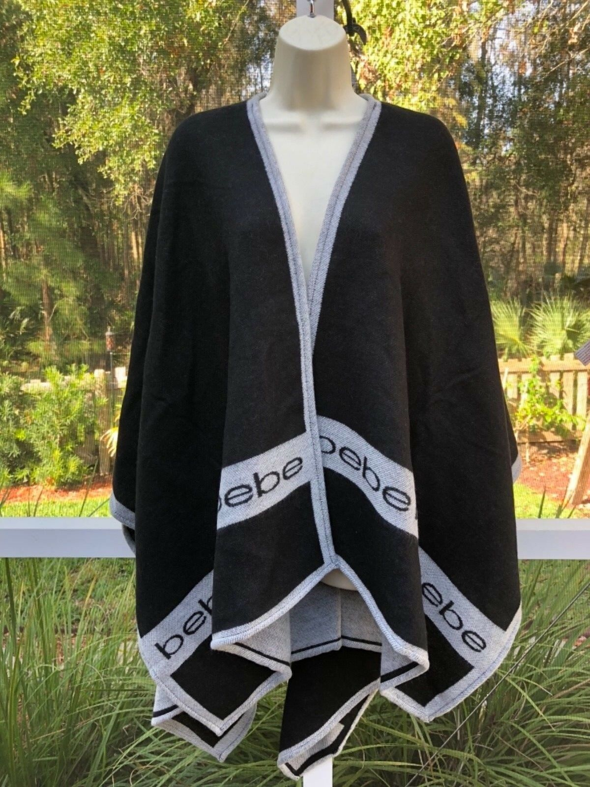 Bebe Women Open Front Oversized Blanket Poncho Cape Cape Cape Shawl Cardigan Coat One Size 6d0f53