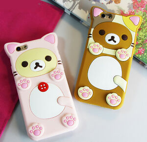 cheaper 0497a 17989 Details about Cute Rilakkuma Relax Bear Paw Silicone Soft Case Back Cover  for iPhone 6 6S 7 8P