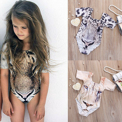 2016 Baby Girls Leopard Print Swimsuit Swimwear Bathing Suit One-piece Swimming