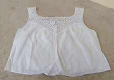 Antique Victorian* cotton and crochet lace camisole/chemise, medium* white*