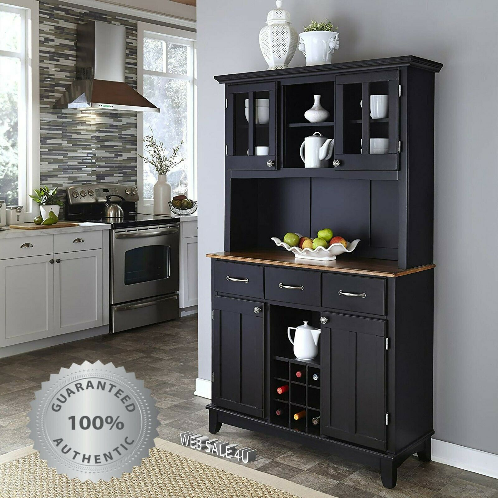 Picture of: Kitchen Buffet Hutch Wine Rack Solid Wood Server Storage Cabinet Drawers Black For Sale Online