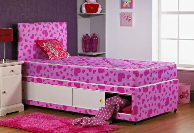 New 2'6ft or 3ft Pink Single Divan Bed With STORAGE + HEADBOARD