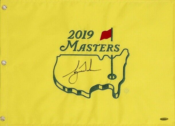 TIGER WOODS Autographed Authentic 2019 Masters Flag (15th Major) UDA