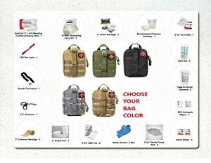 40 Piece Deluxe Gunshot Trauma First Aid Kit IFAK & Choice Rip Away MOLLE Bag