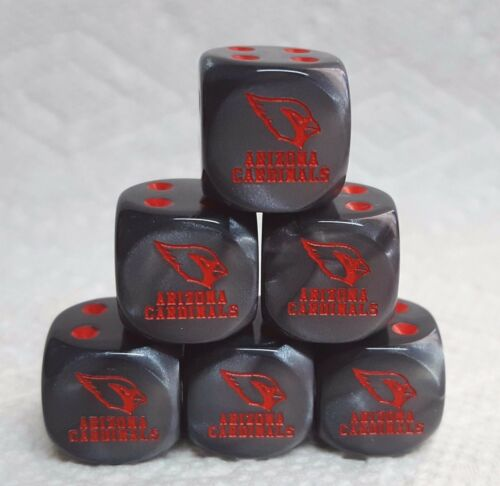 *6* DICE ARIZONA CARDINALS LOGO ON 16mm VELVET BLACK w//RED CARDINALS /& PIPS