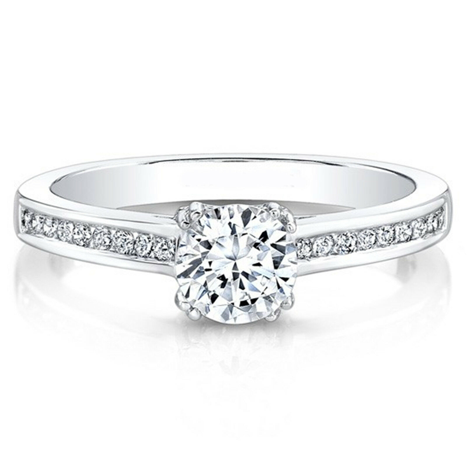 Engagement & Wedding 0.83ct Round Diamond Engagement Wedding Band Solid 14k Solid White Gold Jewelry & Watches