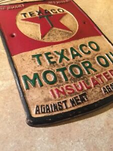 Texaco-Sign-Solid-Metal-Antique-Style-Oil-Gas-Advertisement-Wet-Patina-Retro-Ex