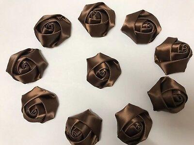 """Artisanat. Mariage bouquet corsage 10 Gold Handmade 4d satin rose fleurs 2/"""""""