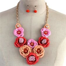 Multi Pink Peach And Red Metal Flower Floral Chunky Necklace Earring Set