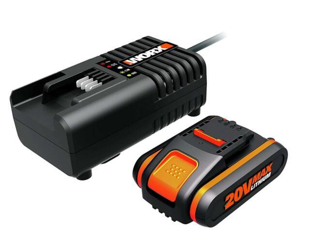 WORX WA3601 Akku mit Ladegerät Set: 20V 2000mAh Li-Ion Akkubatterie & Ladestatio