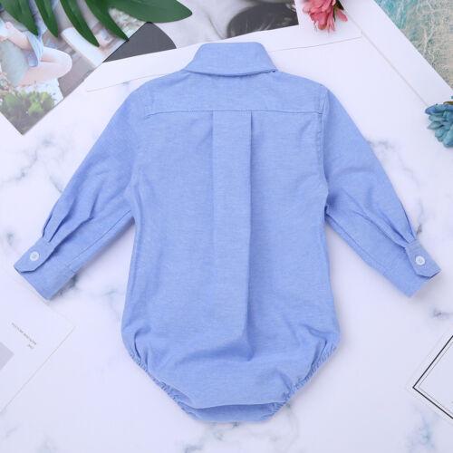 Bebé camisa cuerpo de manga larga con camisa de cuello babero mono bautismo fiesta juego