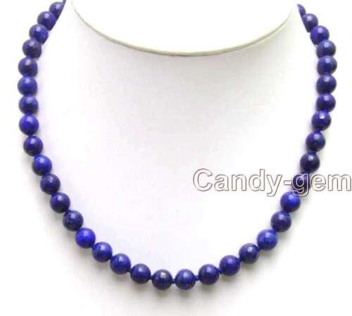 """Vente Gros 10 Mm Rond Haute Qualité Bleu Naturel Lapis Lazuli 17/"""" Collier-nec5854"""