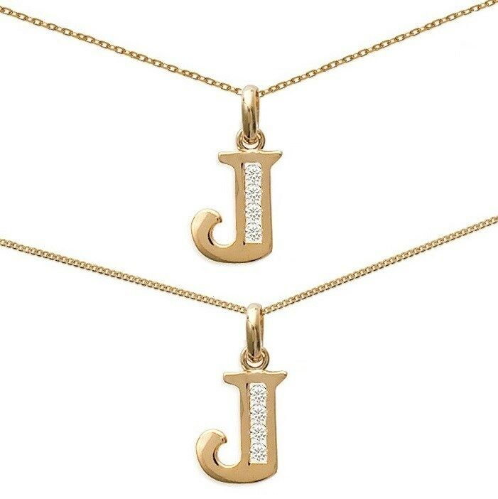Initial Pendant Letter J gold Plated + GEORE + CHAIN of your choice