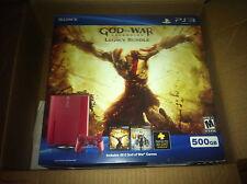 NEW Red Sony Playstation 3 Super Slim God of War Legacy Bundle 500 GB Console
