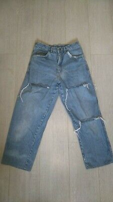 Fatturato Lordo Vintage 80s Molto Consumato + Strappato Carota Fit Jeans-mostra Il Titolo Originale Funzionalità Eccezionali