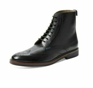 cefb8e2dcf7 Details about Handmade Men's Brogue Wingtip Lace up Boots, Ankle High Black  Leather Shoes