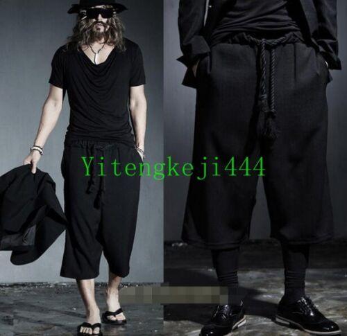 Mens Black Gothic Cotton Pants Hakama Japanese Samurai Boho Harem Trousers New