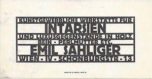 Details About Wiener Werkstätte Visitenkarte Emil Sahliger Wien Iv Schönburgstr 13 Intarsien