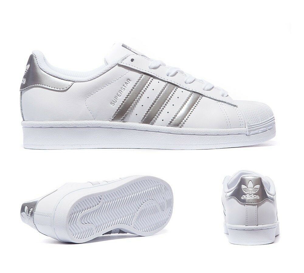 ADIDAS SUPERSTAR Bianco Argento Metallico Foundation Tg