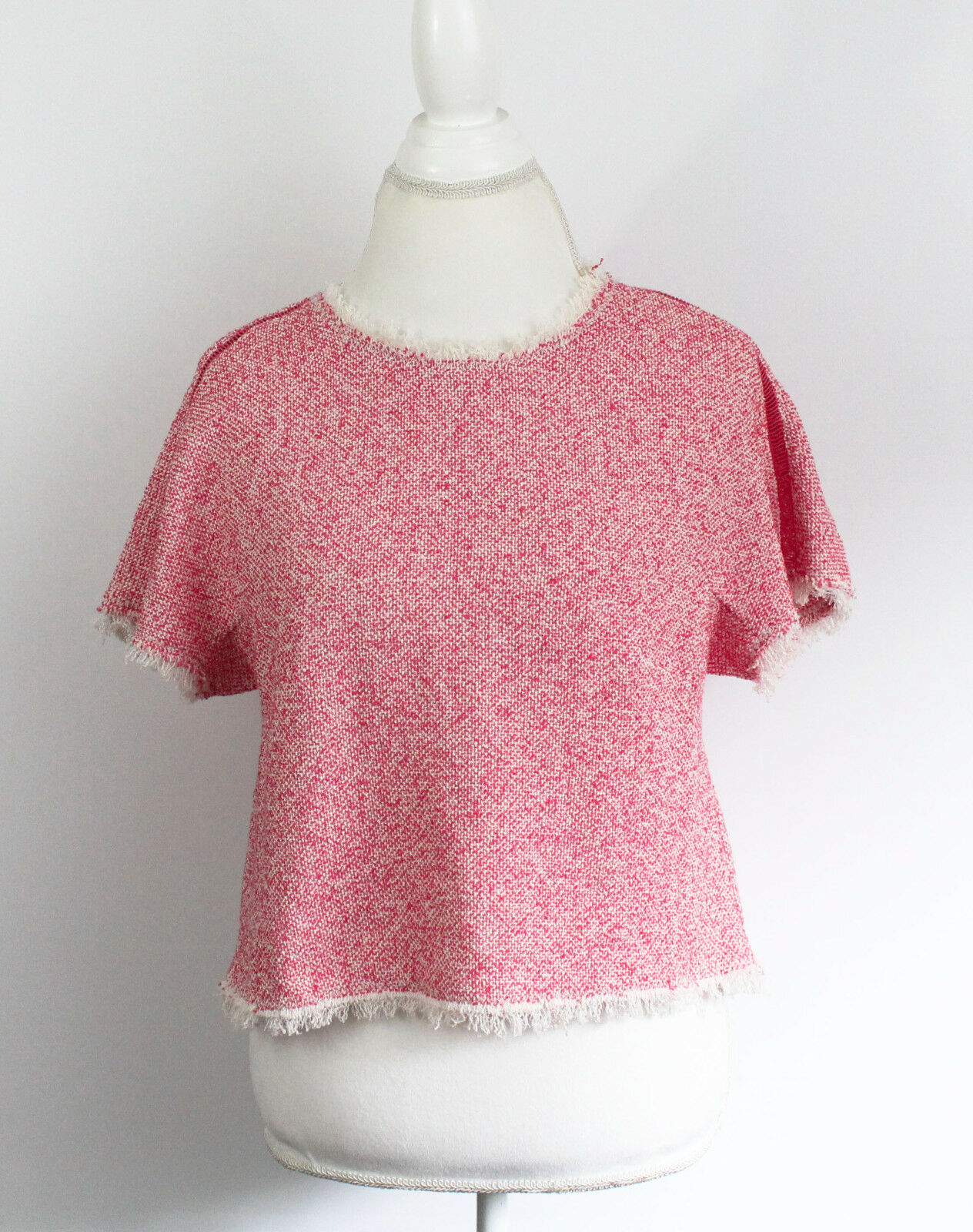 NEW Rebecca TaylorShort-Sleeve Summer Tweed Cropped Top, Coral PInk